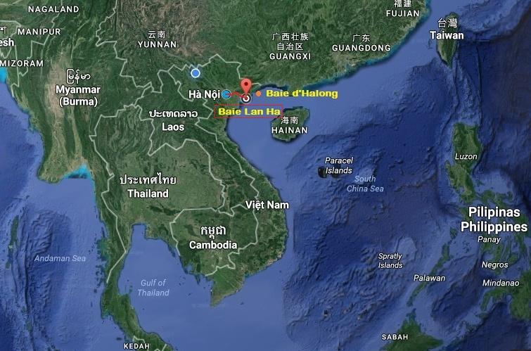 Baie de Lan Ha du Vietnam carte